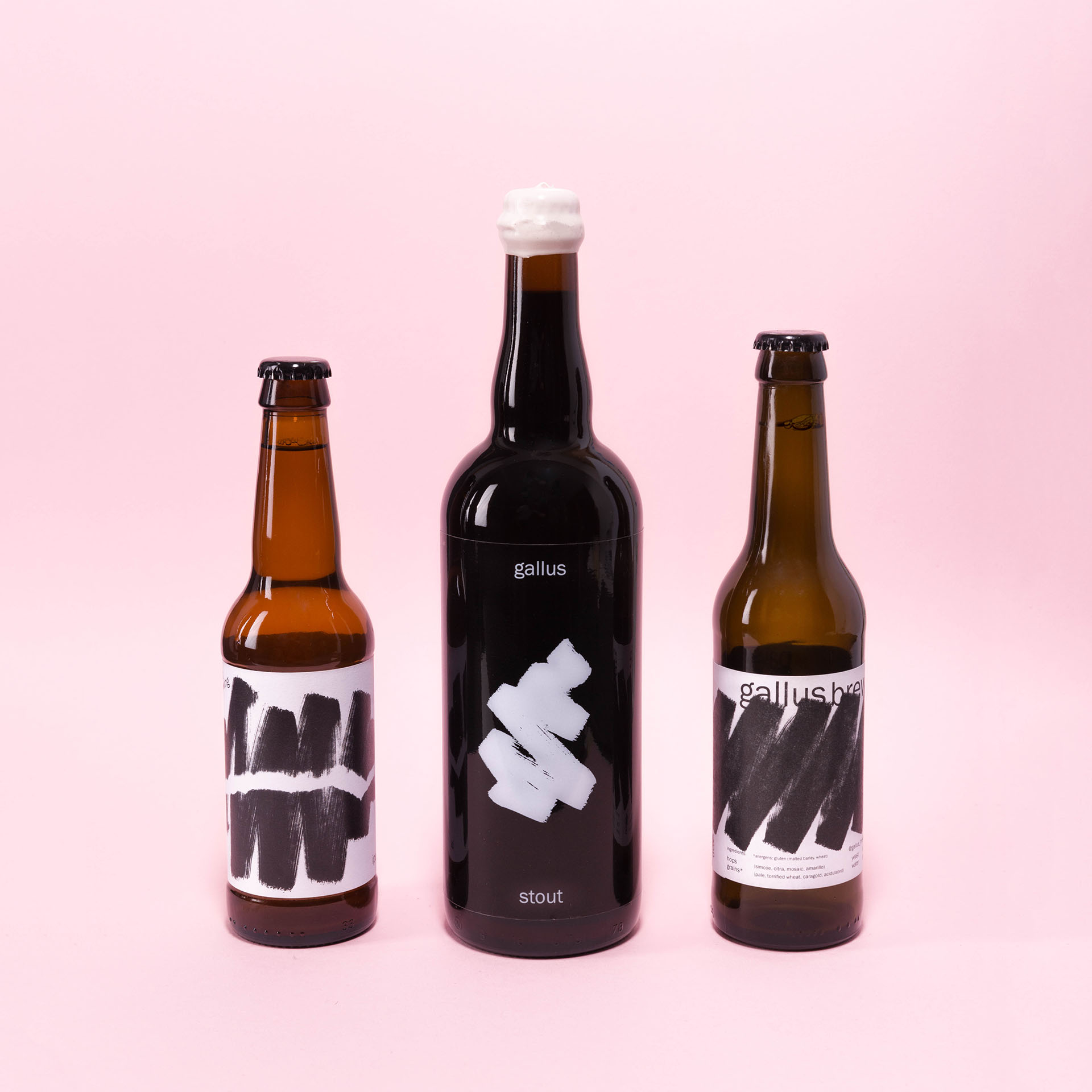 IPA Stout and Pale Ale bottles from Gallus Brewing